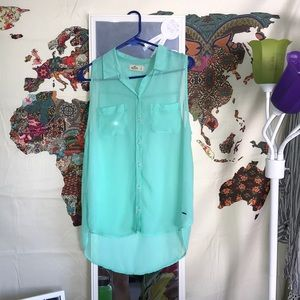 Sheer Mint Green Cut Off Sleeve Shirt
